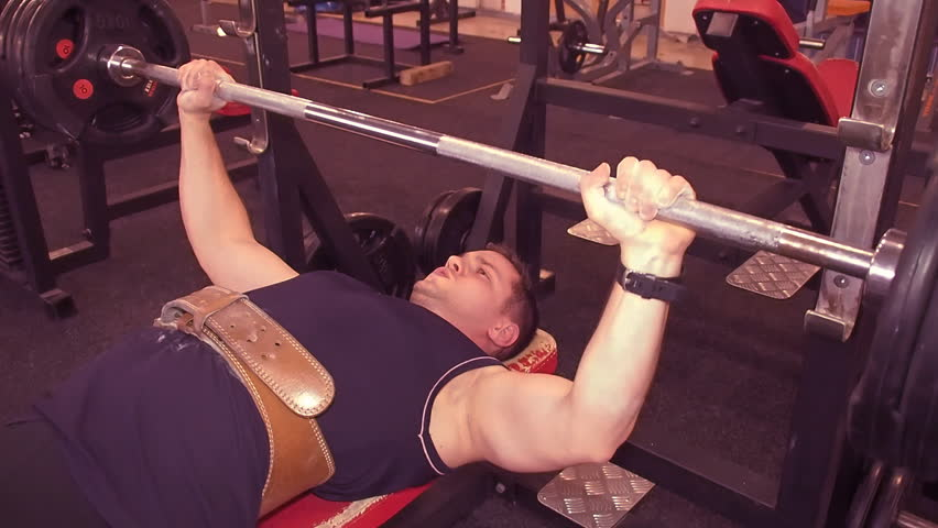 Heavy Bench Press Videos Part - 48: Man Bench Press. Man Lying Barbell Presses In The Gym, On The Bench.