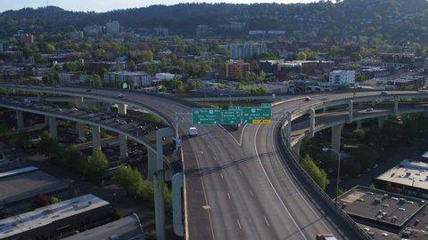 Portland Aerial v93 Flying low over I-405 Fremont Bridge traffic panning.