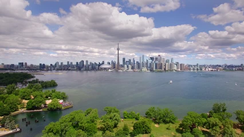 Toronto cityscape, aerial view of iconic Toronto skyline including the famous CN Tower, Ontario, Canada.