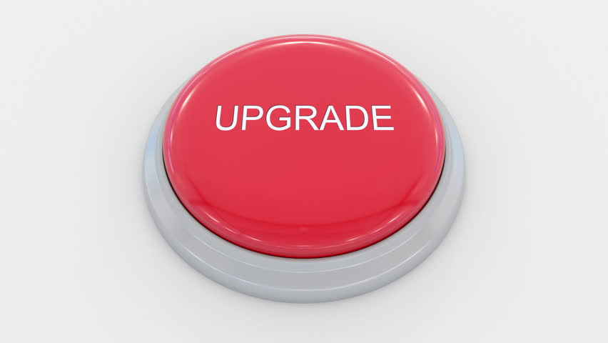 Pushing big red button with upgrade inscription. Conceptual 4K clip | Shutterstock HD Video #24200173