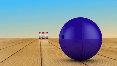 Bowling ball crashes into skittles. 3d render.