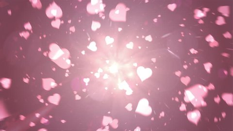 Valentine's day abstract background,flying hearts and particles in the tunnel.Loopable.