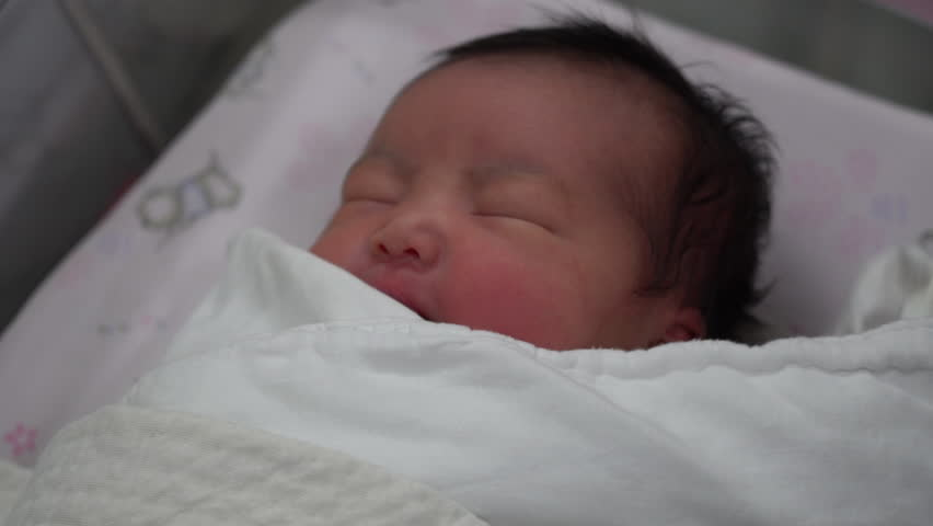 Newborn Asian Baby Girl Smiling, 12 Days After Birth ...