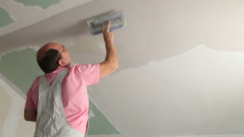 Plastering Ceiling Stock Footage Video