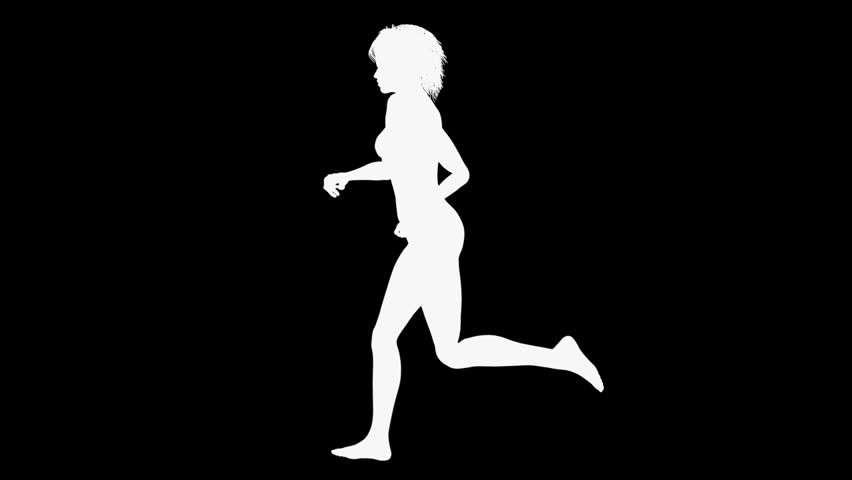Silhouette of a naked running woman. Seamless loop.