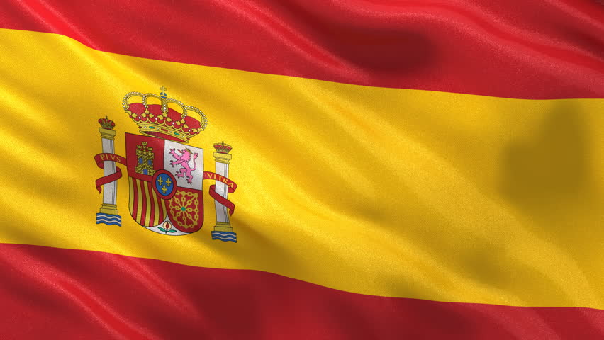 Seamless Spanish Flag waving in the wind with highly detailed fabric texture