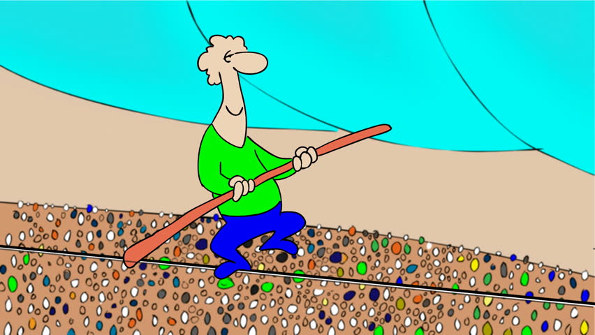 Walking on the rope, Man walks on the rope,but suddenly the lost his balance on the rope and fall down.Animated cartoon.HD 1080.