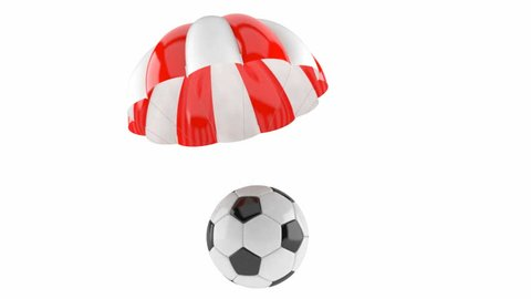 Parachute with soccer ball isolated on white background