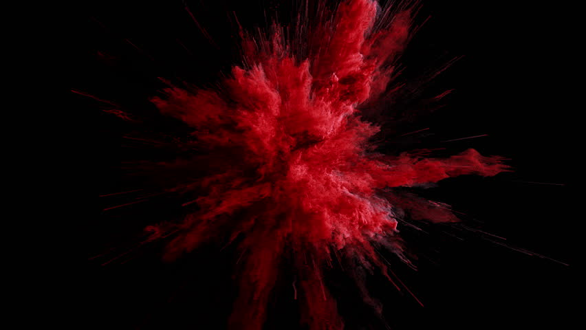 Cg animation of red powder explosion on black background. Slow motion movement with acceleration in the beginning. Has alpha matte