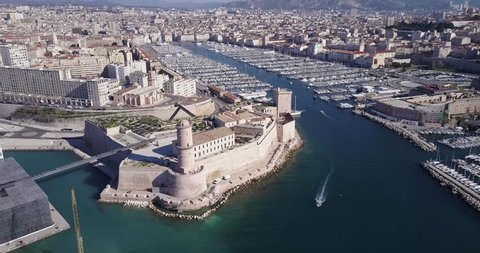 Marseille European Capital aerial view of the Old harbor 4K