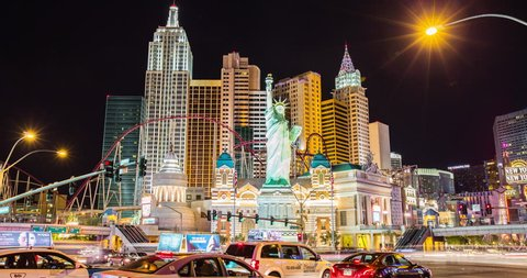 Las Vegas 2014 - 4K time lapse of the New York New York casino hotel on the Las Vegas strip