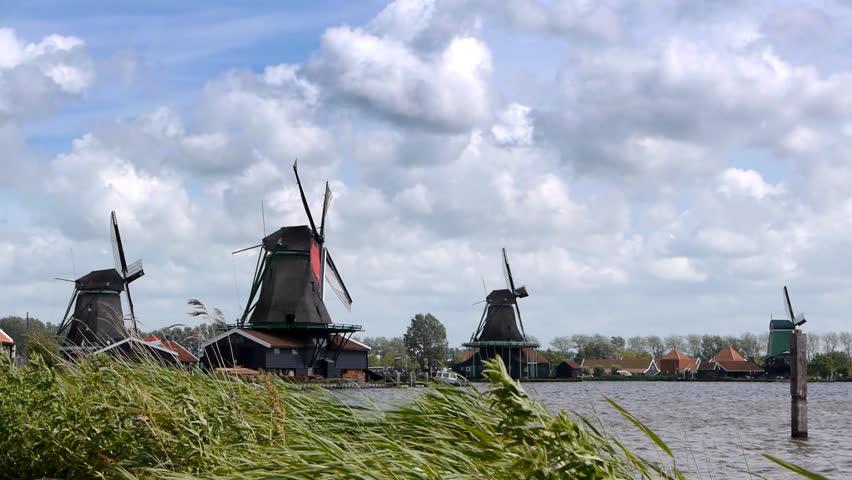 Panorama of Dutch wind mills at the Zaanse Schans in Holland