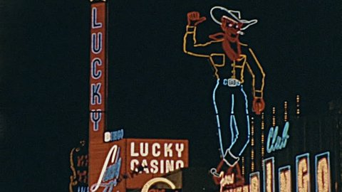 LAS VEGAS - 1965: casinos signs in the strip in 1965 in Las Vegas