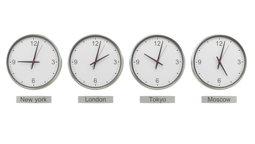 New york london and tokyo time world time zones office wall with time zone clocks showing different time hd stock footage clip gumiabroncs Gallery