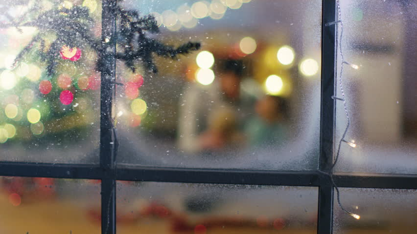 Looking Through Snowy Window. Sitting Under Christmas Three Father and Daughter Play with Plush Bear.  | Shutterstock HD Video #24403013