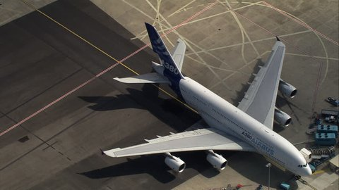 AERIAL France-Toulouse-Blagnac Airport 2006: Looking down on two A380 jets at Airbus Industries