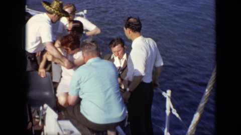 MOSCOW RUSSIA 1971: group of people boat ride
