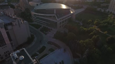 University of Pittsburgh Oakland Peterson Events Center Reveal of Pittsburgh in the backdrop Sunset Sunrise Aerial 4K