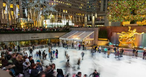 Manhattan, New York City, USA - Ice Skating on The Rink at Rockefeller Center with christmas tree and Prometheus - Timelapse without motion - 01/16