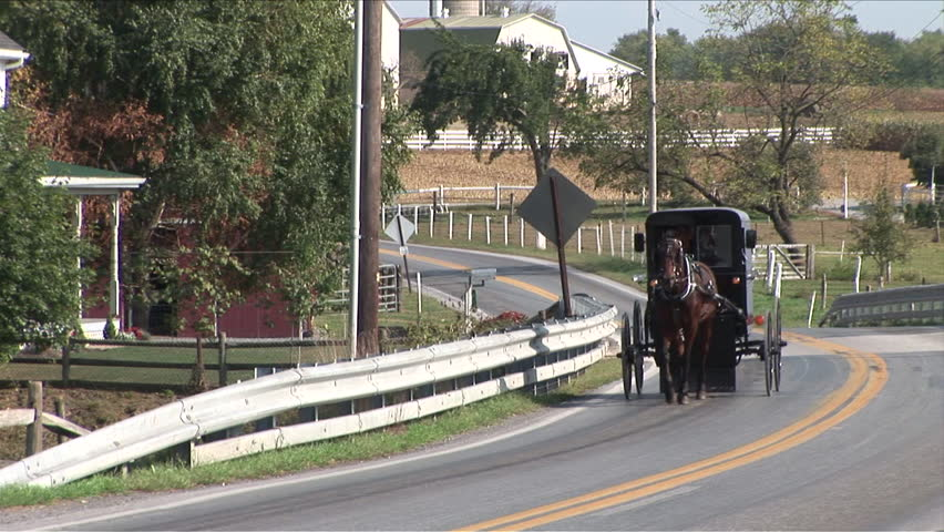 Amish horse and buggy going down the road next to a farm in Lancaster, Pennsylvania