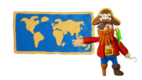 Funny Clay Pirate and world map. Pirate Party. Clay animation. 4K