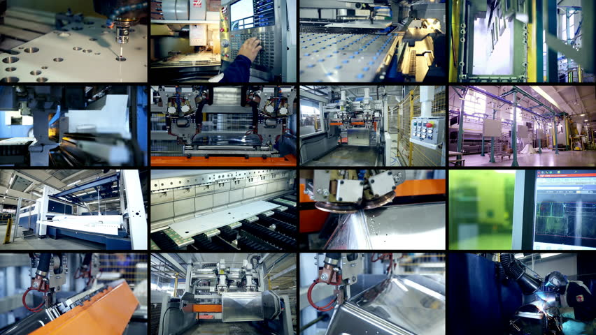Production robots working at a modern factory. Split screen, multiscreen background. | Shutterstock HD Video #24502373