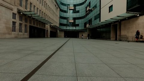 London,BBC,The main entrance to BBC News Company,February,2017.