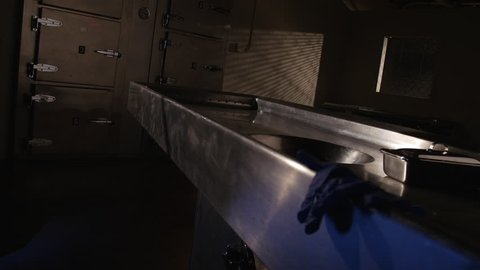 CORONER'S GLOVES LEFT BEHIND.  SLOW DOLLY MOVE TO AN AUTOPSY TABLE IN AN EMPTY MORGUE.  NEGATIVE SPACE IN FRAME NEXT TO CADAVER REFRIGERATORS IN THE BACKGROUND.  SHOT IN 4K, 10 BIT, 4:2:2.