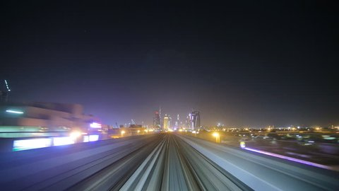 night Dubai metro train