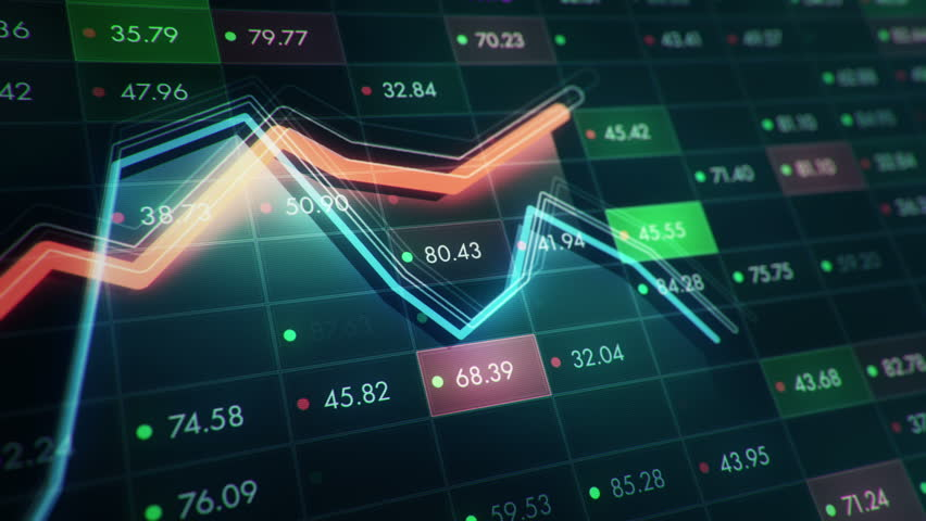 Abstract background with animation of growth graph of stock market on screen of trading board with abstract quotes tickers, words about business or technology, binary code. Animation of seamless loop. | Shutterstock HD Video #24539243