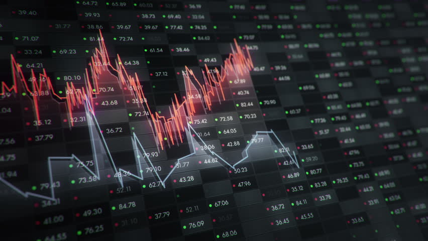 Abstract background with animation of growth graph of stock market on screen of trading board with abstract quotes tickers, words about business or technology, binary code. Animation of seamless loop. | Shutterstock HD Video #24540014