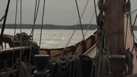VIRGINIA - OCTOBER 2014 - Reenactment, recreation of early, pre-20th century sailing ship - Europe to the New World.  Exploration, invasion boat, tall-ship, rigging, masts and giant sails at sea.