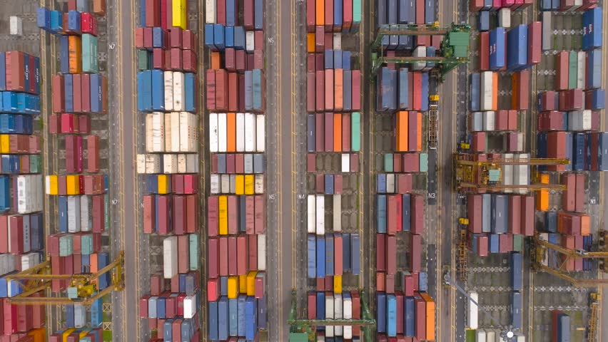 Shipping containers at the Port Singapore Aerial view   Shutterstock HD Video #24553874