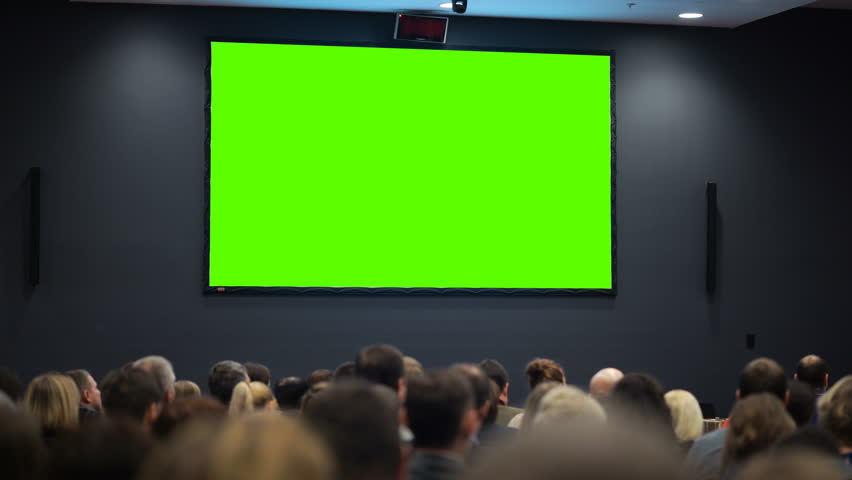Public event. A huge space of the room is filled with persons from political or financial organization looking at green screen. Concept of common accessibility of information. Chroma key and advertise | Shutterstock HD Video #24558065