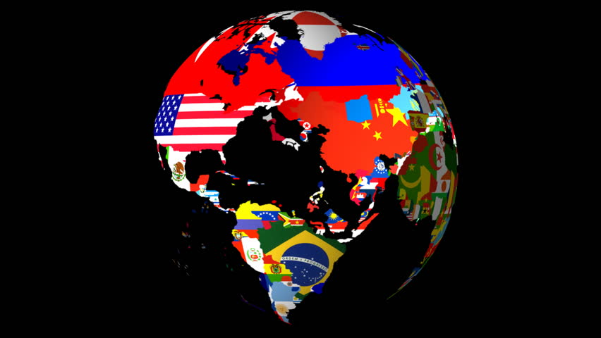 High Definition Loopable Spinning Globe with Countries Flags Matt / Alpha at 10 Seconds (Loopable)