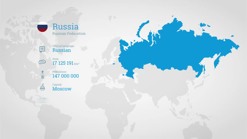 Animated infographics map with country's flag and profile. Russia