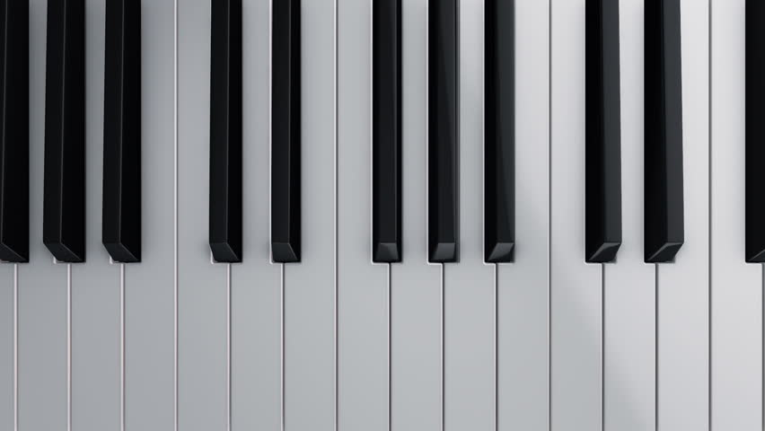 Background with animation of play on piano, synthesizer or electronic piano. Animation pushing of piano keys player. Animation of seamless loop.