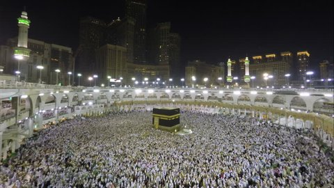 Time lapse video of Muslim pilgrims circling around the holy Kaaba at night during Hajj inside al Masjid al Haram in Mecca, Saudi Arabia.