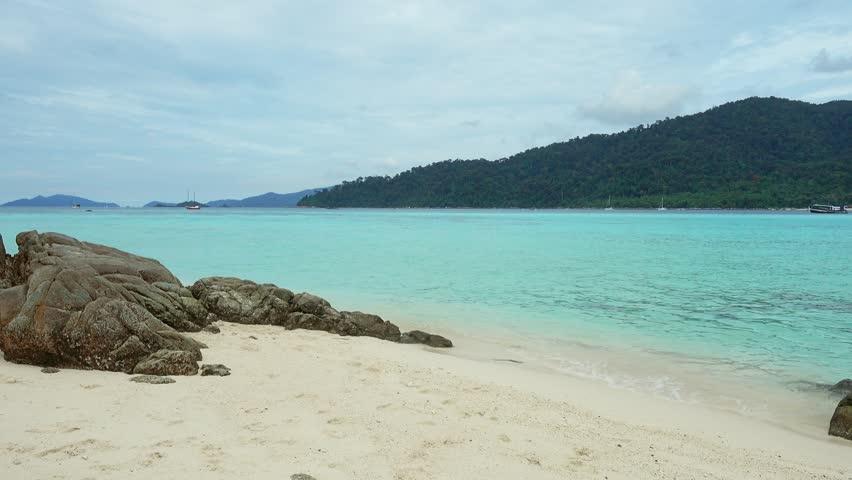 White sandy Sunrise beach on tropical Koh Lipe island, Thailand, 4k