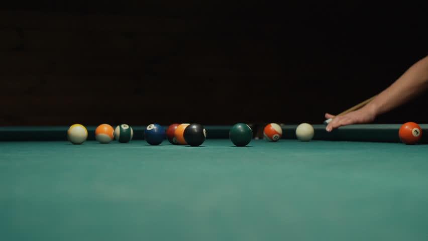 Playing Billiard   Close Up Shot Of A Man Playing Billiard   HD Stock Video