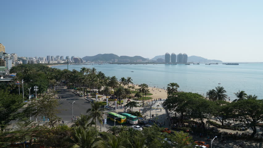Time-lapse of Hainan Sanya knows as Hawaii in China with Phoenix island