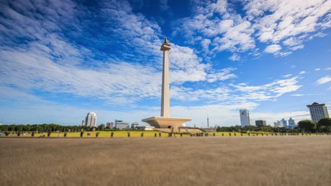 Time lapse national monument, Jakarta, Indonesia
