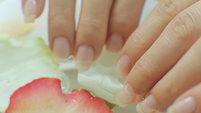 Nail Care. Closeup Of Beautiful Woman Hands With Natural Nails In ...