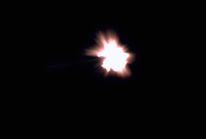 Night scene of ricochets and sparks from two bullets