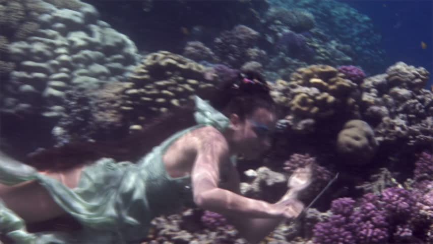 Underwater model free diver poses stock footage video 100