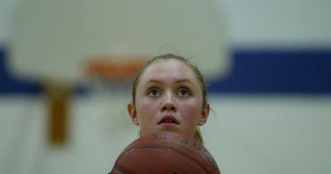 womens basketball player shoots basket slow motion 4k
