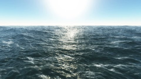Ocean fly over,HD high speed animation just above the ocean waves facing the sun .*note* (4k) remastered 16 second version also available