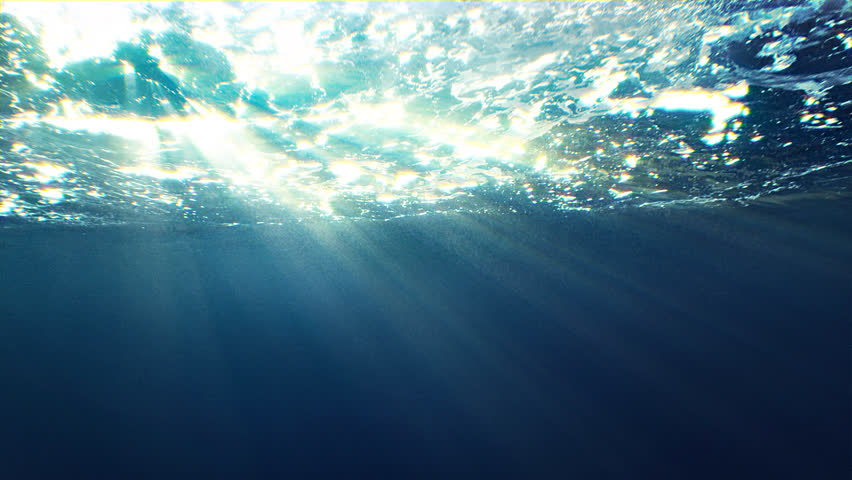 Beautiful underwater sea scene view with natural light rays, shining through the water's glittering and moving surface, caustics, bubbles, and foam, perfect for background and digital composition #24773720