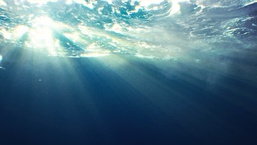 Beautiful underwater sea scene view with natural light rays, shining through the water's glittering and moving surface, caustics, bubbles, and foam, perfect for background and digital composition #24773723