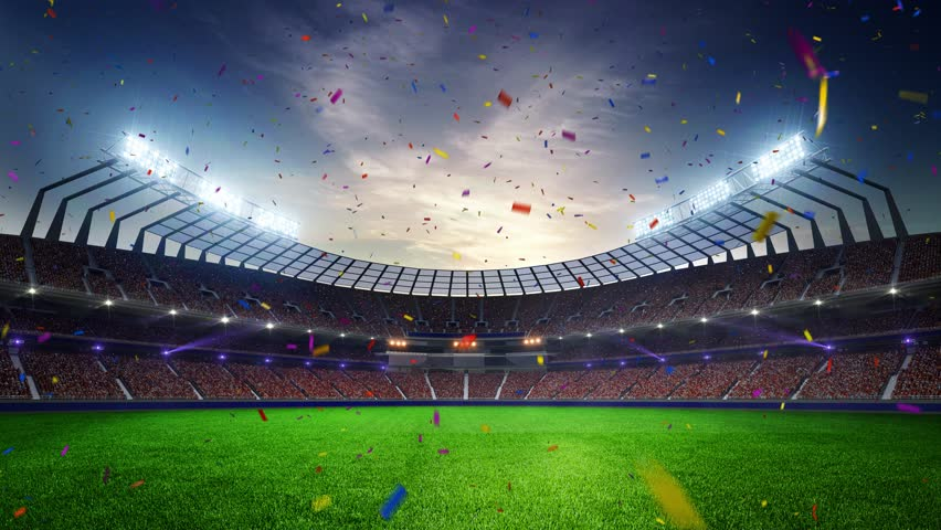 Stadium Moving lights, animated flash  with people fans. 3d render illustration cloudy sunset Confetti and tinsel | Shutterstock HD Video #24828731